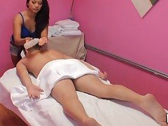 Handjob and impressive sex occur during massage